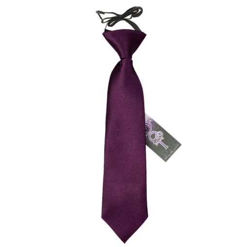 Plum Plain Satin Elasticated Tie for Boys