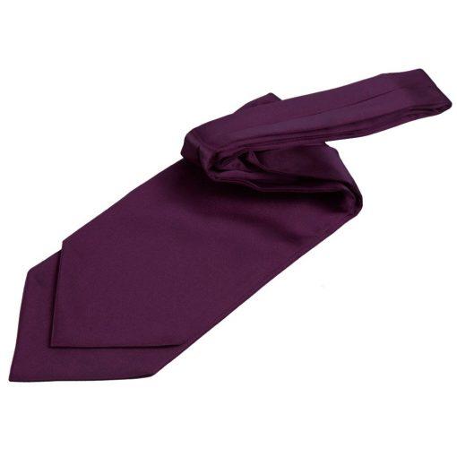 Plum Plain Satin Self-Tie Wedding Cravat