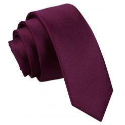 Plum Plain Satin Skinny Tie