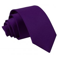 Purple Plain Satin Regular Tie for Boys
