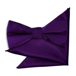 Purple Plain Satin Bow Tie & Pocket Square Set for Boys