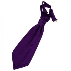 Purple Plain Satin Pre-Tied Wedding Cravat for Boys
