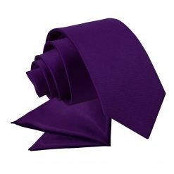 Purple Plain Satin Tie & Pocket Square Set for Boys