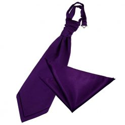 Purple Plain Satin Wedding Cravat & Pocket Square Set
