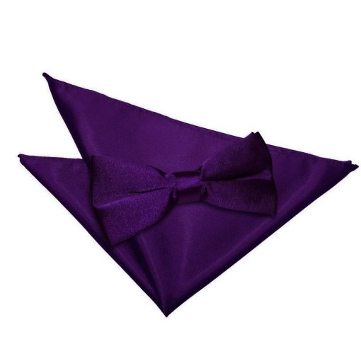 Purple Plain Satin Bow Tie & Pocket Square Set