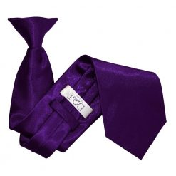 Purple Plain Satin Clip On Tie