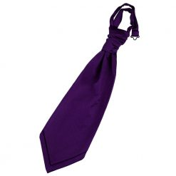 Purple Plain Satin Pre-Tied Wedding Cravat