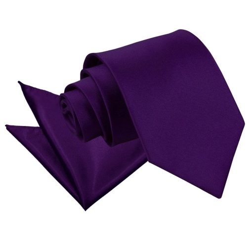 Purple Plain Satin Tie & Pocket Square Set