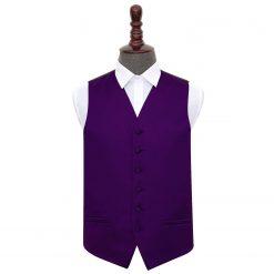 Purple Plain Satin Wedding Waistcoat