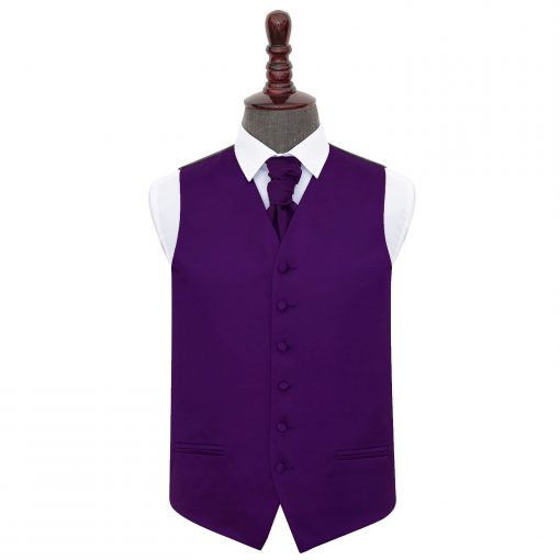 Purple Plain Satin Wedding Waistcoat & Cravat Set