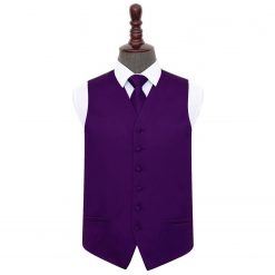 Purple Plain Satin Wedding Waistcoat & Tie Set