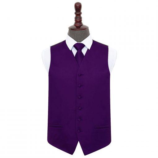 Purple Plain Satin Wedding Waistcoat & Tie Set