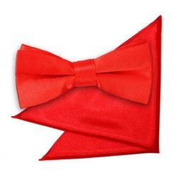 Red Plain Satin Bow Tie & Pocket Square Set for Boys