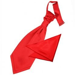 Red Plain Satin Wedding Cravat & Pocket Square Set for Boys