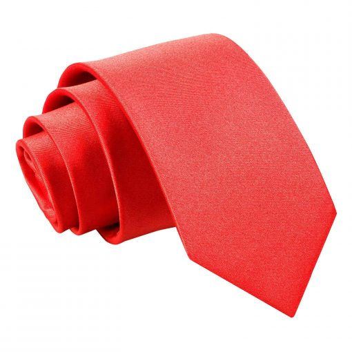 Red Plain Satin Regular Tie for Boys