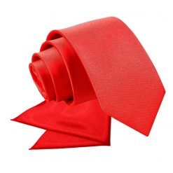 Red Plain Satin Tie & Pocket Square Set for Boys