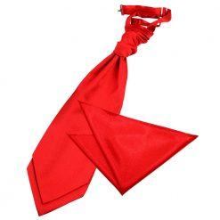 Red Plain Satin Wedding Cravat & Pocket Square Set