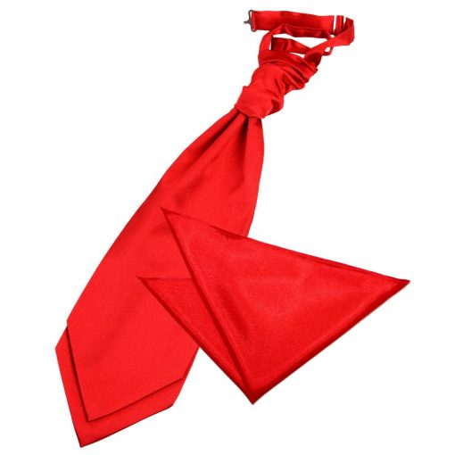 Red Plain Satin Wedding Cravat & Pocket Square Set