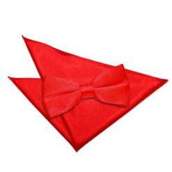 Red Plain Satin Bow Tie & Pocket Square Set