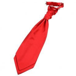Red Plain Satin Pre-Tied Wedding Cravat