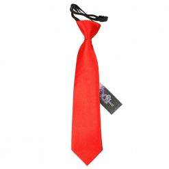 Red Plain Satin Elasticated Tie for Boys