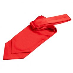 Red Plain Satin Self-Tie Wedding Cravat