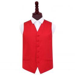 Red Plain Satin Wedding Waistcoat
