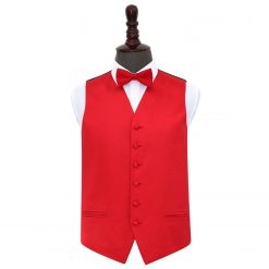 Red Plain Satin Wedding Waistcoat & Bow Tie Set