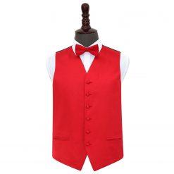Red Plain Satin Wedding Waistcoat & Bow Tie Set