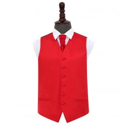 Red Plain Satin Wedding Waistcoat & Cravat Set
