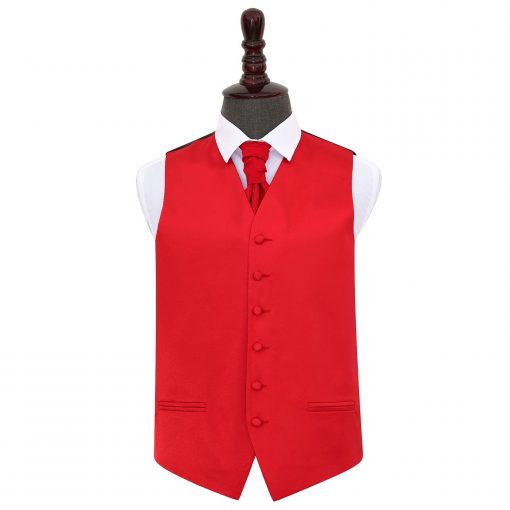 Red Plain Satin Wedding Waistcoat & Cravat Set