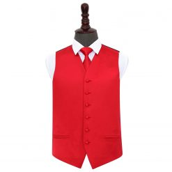 Red Plain Satin Wedding Waistcoat & Tie Set