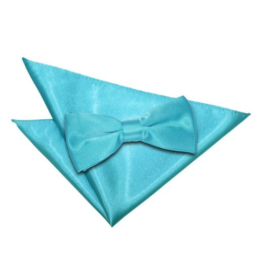 Robin's Egg Blue Plain Satin Bow Tie & Pocket Square Set