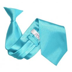 Robin's Egg Blue Plain Satin Clip On Tie