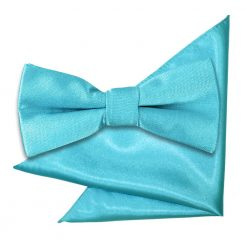 Robin's Egg Blue Plain Satin Bow Tie & Pocket Square Set for Boys
