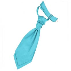 Robin's Egg Blue Plain Satin Pre-Tied Wedding Cravat for Boys