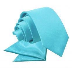 Robin's Egg Blue Plain Satin Tie & Pocket Square Set for Boys