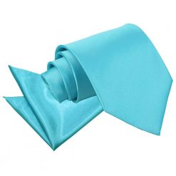 Robin's Egg Blue Plain Satin Tie & Pocket Square Set