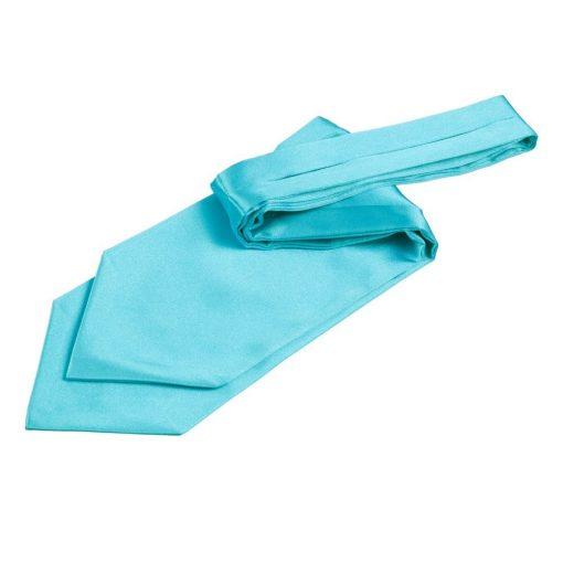 Robin's Egg Blue Plain Satin Self-Tie Wedding Cravat