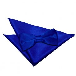 Royal Blue Plain Satin Bow Tie & Pocket Square Set