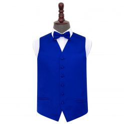 Royal Blue Plain Satin Wedding Waistcoat & Bow Tie Set
