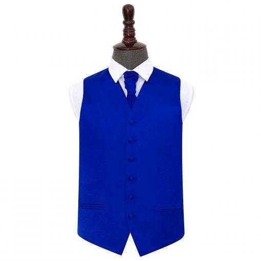 Royal Blue Plain Satin Wedding Waistcoat & Cravat Set