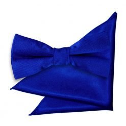 Royal Blue Plain Satin Bow Tie & Pocket Square Set for Boys