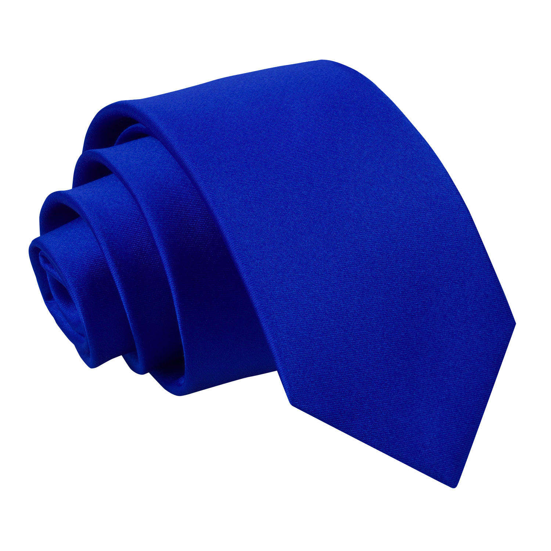 Royal Blue Plain Satin Regular Tie For Boys
