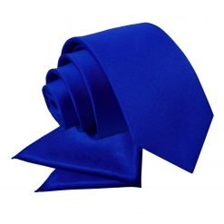 Royal Blue Plain Satin Tie & Pocket Square Set for Boys