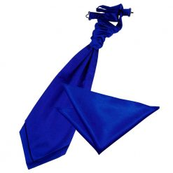 Royal Blue Plain Satin Wedding Cravat & Pocket Square Set