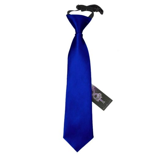 Royal Blue Plain Satin Elasticated Tie for Boys
