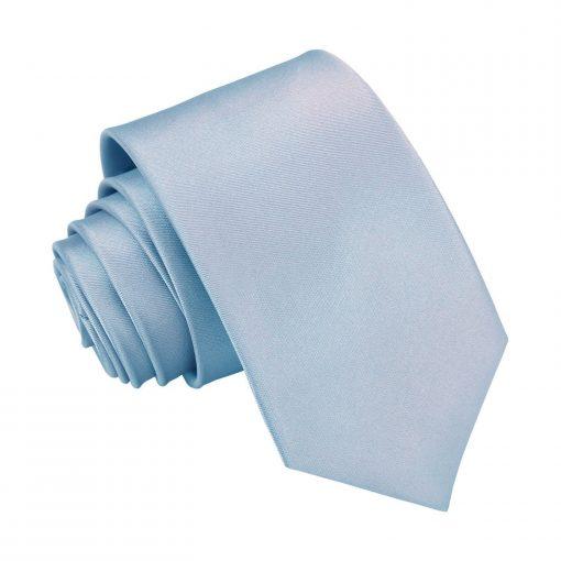 Dusty Blue Plain Satin Regular Tie for Boys