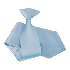Dusty Blue Plain Satin Clip On Tie
