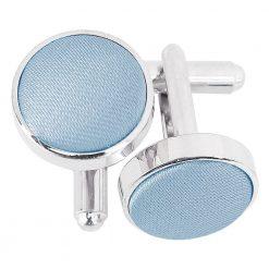 Dusty Blue Plain Satin Cufflinks